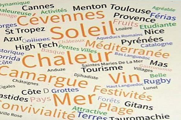 """Voici les noms les plus souvent cités par des sondés dans 5 pays d'Europe, quand on leur a dit """"Languedoc-Roussillon-Midi-Pyrénées""""."""