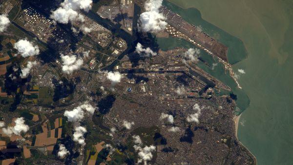 Le port du Havre depuis l'espace