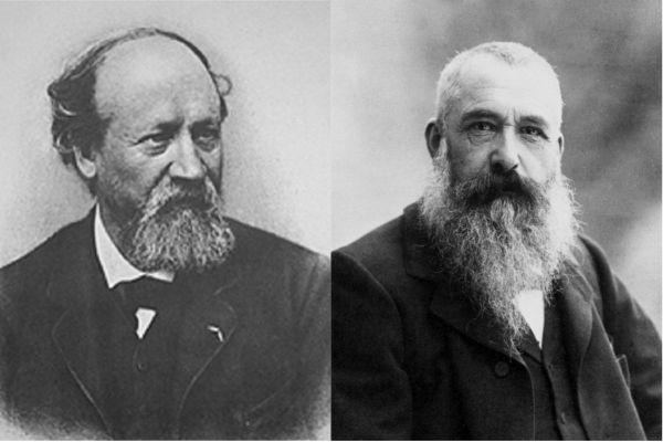 """Le tableau """"Sur la plage de Trouville"""" attribué à Eugène Boudin (à gauche) serait à mettre au profit de Claude Monet (à droite)."""