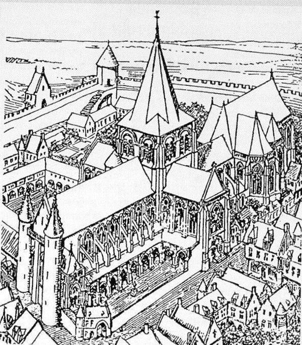 Dessin de l'ancienne cathédrale Notre-Dame-de-Boulogne vers 1570, par Camille Enlart. Le bâtiment représenté a été détruit en 1789 par les révolutionnaires, avant d'être reconstruit en basilique.