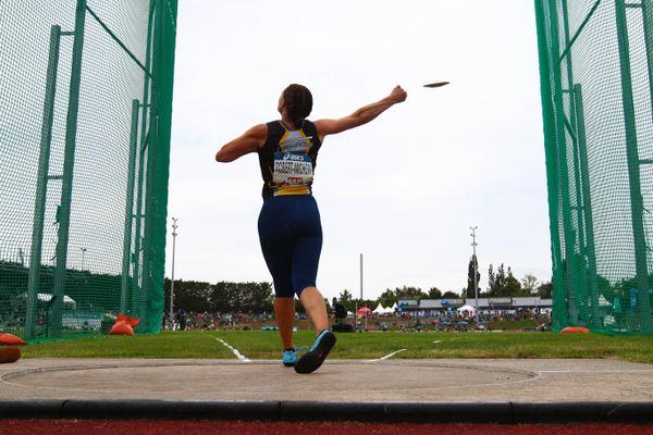 Mélina Robert-Michon lors des championnats de France d'athlétisme à Angers, le 26 juin 2021.