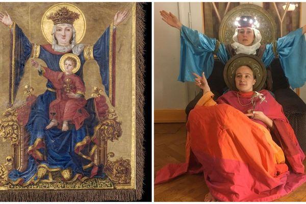Vierge aux bras étendus - bannière du XVIIe siècle - musée historique de Strasbourg