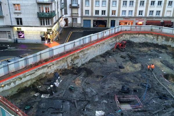 Le chantier de fouilles préventives place Saint-Germain à Rennes