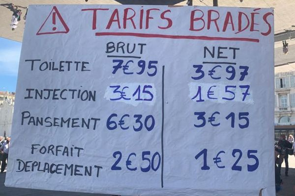 16.06.20. Marseille, les infirmiers libéraux protestent contre des tarifs de soin qui n'ont pas été revalorisés depuis 13 ans.