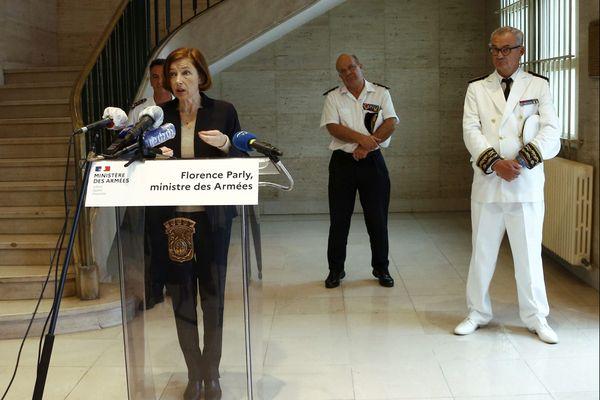 Le 13 juin 2020, à Toulon à la Préfecture Maritime lors de la conférence de presse de la Ministre de la Défense Florence Parly.