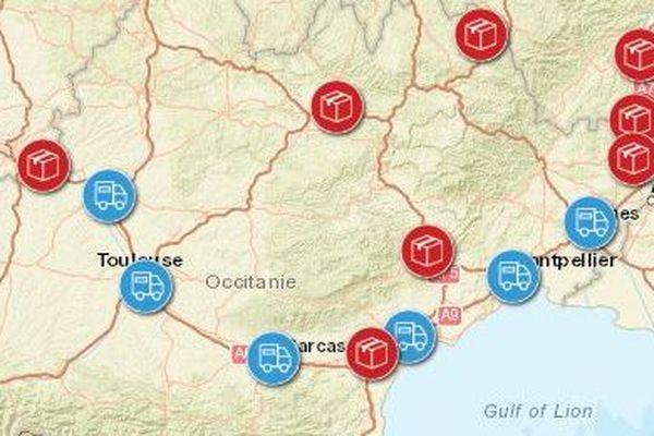 La partie Occitanie de la carte des déchets nucléaires publiées par Greenpeace