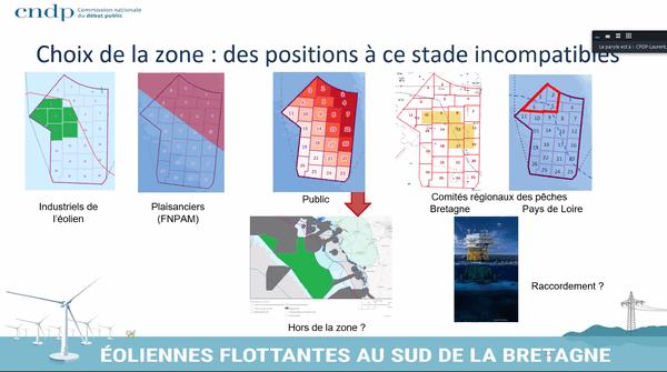 Les multiples propositions de zones d'implantations des parcs d'éoliennes flottantes proposées par ceux qui ont participé au débat public