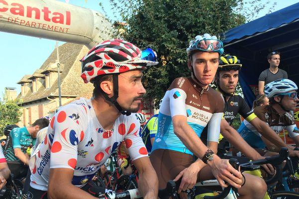 Julian Alaphilippe et Romain Bardet lors du Critérium de Marcolès, le 8 août 2018, dans le Cantal