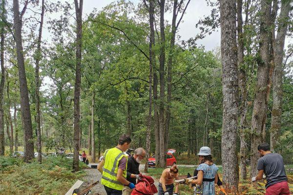 Opération de nettoyage après la découverte d'une décharge sauvage post-confinement dans la forêt domaniale de Châtellerault.