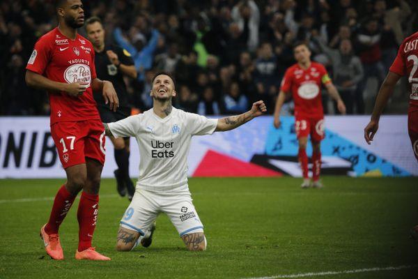 Au contraire de Darío Benedetto (célébrant ici son but face à Brest au Vélodrome le 29 novembre 2019), les supporters de Marseille devront se faire discrets aux alentours du stade de Brest de 8 heures à minuit le jour de la rencontre.