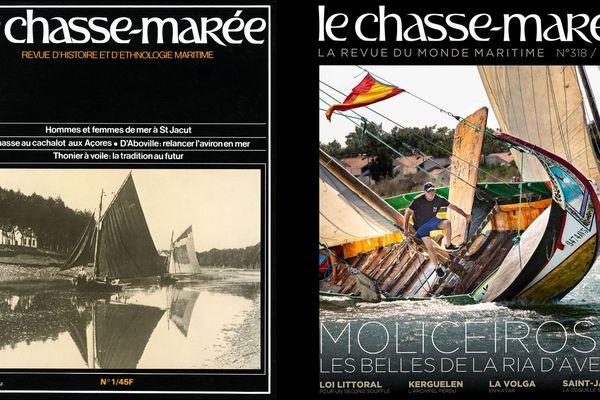 A gauche, la couverture du premier numéro du Chasse-Marée en 1981. A droite, la couverture de la revue, nouvelle formule, qui sort en kiosque ce mercredi