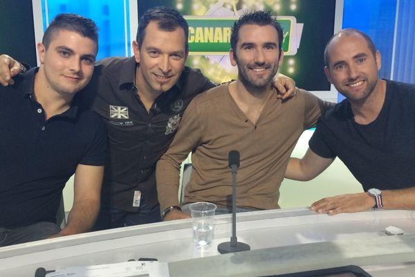Pierrick Bruel, Anthony Brulez, Loïc Guillon et Nicolas Fradin sur le plateau de Canariplay le 1er novembrre 2016