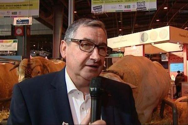 Jean-Pierre Fleury, patron des producteurs des bovins charolais, au Salon de l'agriculture de Paris