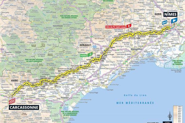 Le tracé de la 13ème étape du Tour de France entre Nîmes et Carcassonne - 9 juillet 2021