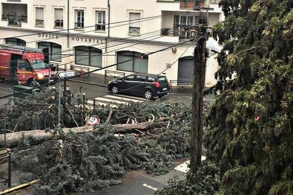 Arpajon, dimanche 27 décembre 2020. La tempête Bella a provoqué la chute de nombreux arbres comme ici à l'angle de la rue Verdier et du boulevard Abel-Cornaton à Arpajon. Crédit photo : Mairie Arpajon