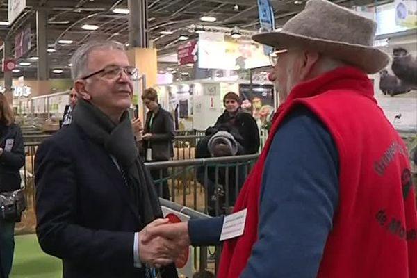 François Bonneau est allé à la rencontre des éleveurs de la région Centre-Val de Loire, lors du salon de l'agriculture, le 26 février 2019