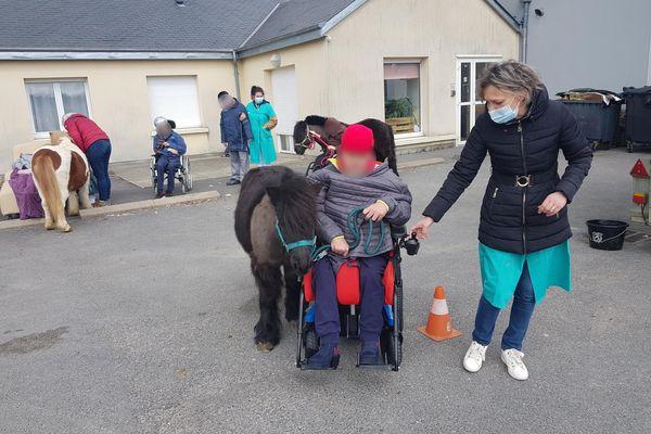 Lundi 12 avril, la Maison d'accueil spécialisée des Campanules, dans les Ardennes, a reçu la visite de Guss et d'autres poneys.