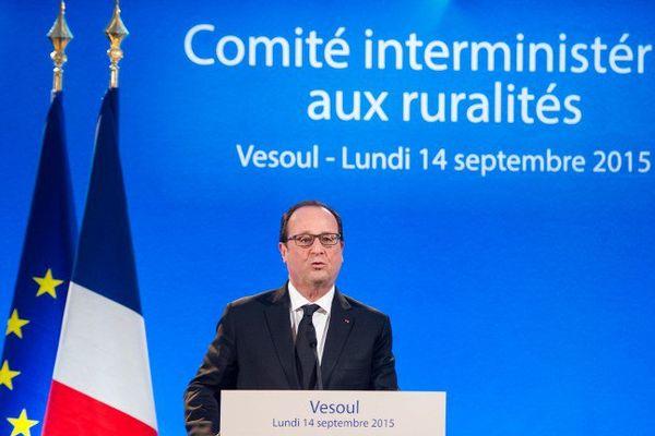 François Hollande, le président de la République pour le Comité interministériel aux ruralités à Vesoul en Haute-Saône.