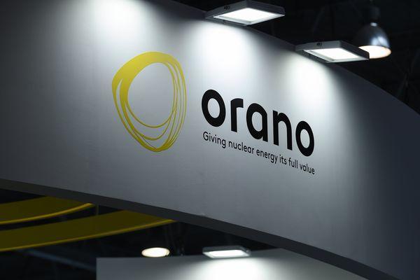 Le logo du groupe nucléaire français Orano lors de la World Nuclear Exhibition (WNE) 2018 à Villepinte, près de Paris.
