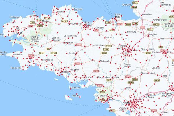 Partie bretonne de la carte des bureaux de vote de la primaire de la gauche établie par franceinfo