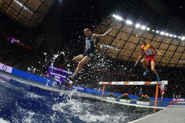 """En finale du 3000m steeple jeudi soir à Berlin, Yoann Kowal (à gauche) termine l'épreuve en 8'36""""77, à moins d'une seconde de la troisième place (8'35""""81)."""