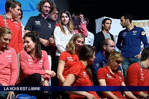 Les athlètes de l'équipe de France lors de la remise des Chronos d'Or