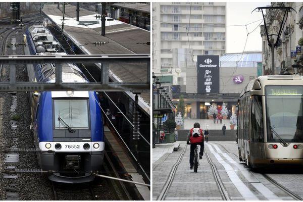 Un TER à Nancy/un tram à Orléans, images d'illustration.