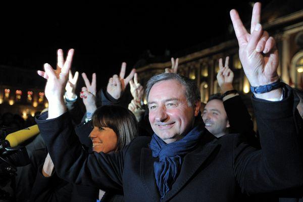 Jean-Luc Moudenc fêtant sa victoire dimanche soir