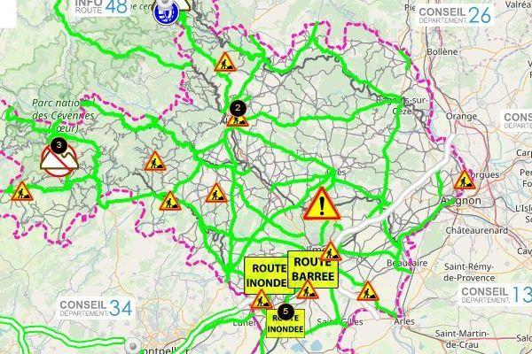 Des routes barrées ou inondées suite aux fortes pluies dans le Gard.