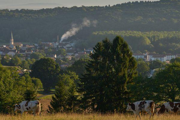 Mandeure, Doubs, Franche-Comte- Vue sur le pays de Montbeliard et sur les Vosges.