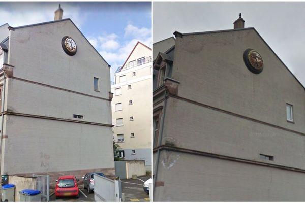 L'évolution de la corrosion sur l'horloge Ungerer entre 2011 et 2017.