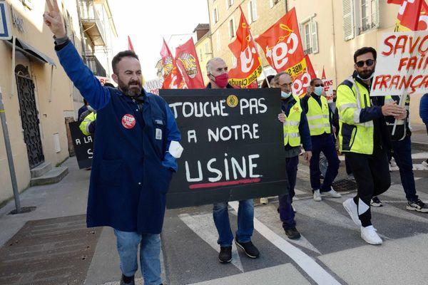 Manifestation des salariés de MBF le 14 avril 2021.