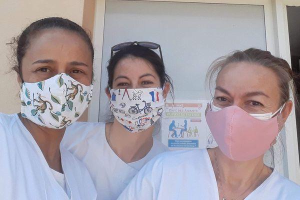 Anne-Gaëlle, Samia et Lilas, soignantes de SenDRA.