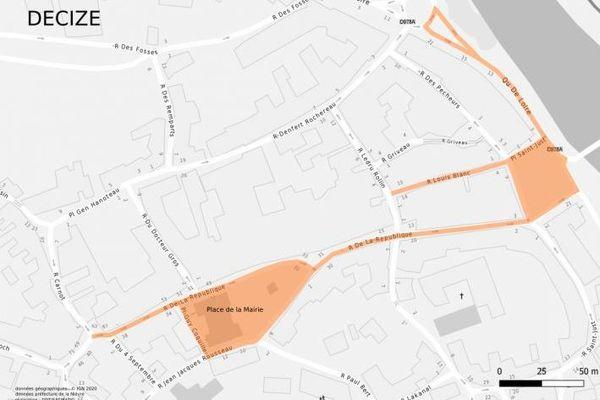 Les rues et secteurs délimités en orange où le port du masque est obligatoire