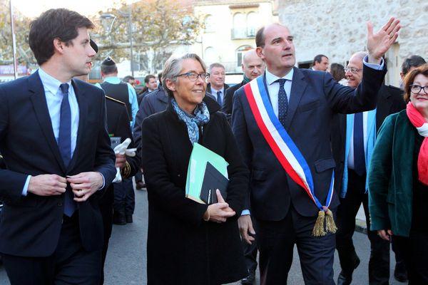 A Prades le 27 novembre 2017, Jean Castex guide une visite ministérielle avec Elisabeth Borne, ministre de la transition écologique et des transports et Julien Denormandie, secrétaire d'Etat à la cohésion des territoires.