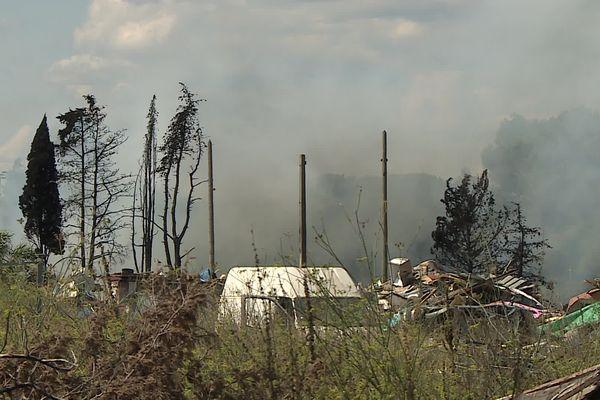 Un incendie sur la camp du Zénith 2 à Montpellier - 11 septembre 2021