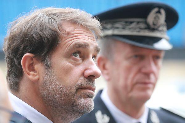 Le ministre de l'intérieur Christophe Castaner et Frédéric Veaux, directeur général de la police nationale (DGPN).