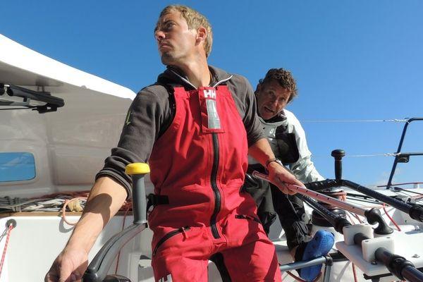 Thomas Ruyant et Bruno Jourdren à l'entraînement