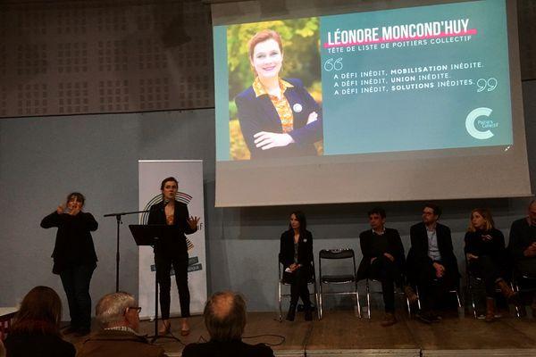 Léonore Moncond'huy s'exprime lors d'un meeting de campagne pour les élections municipales de Poitiers, le 5 février 2020;