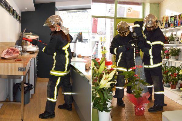 Chez le boucher ou chez le fleuriste, les pompiers de Saugues ont joué les trouble-fêtes pour leur calendrier 2021.