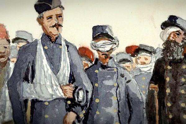 """""""Les blessés qu'on voit dans les rues"""" aquarelles extraite de l'un des Manuscrits du Lieutenant- Colonel Guillaume Cullard."""