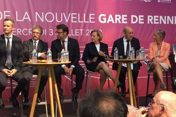 Deux ministres avaient fait le déplacement pour inaugurer la gare de Rennes : Elisabeth Borne et Jean-Yves Le Drian