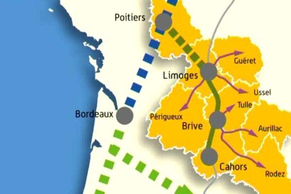Tracé LGV Poitiers-Limoges