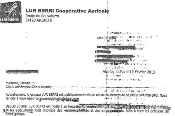 Le courrier de Lur Berri daté du 19 février a été envoyé à ses 5 000 adhérents et à ses clients