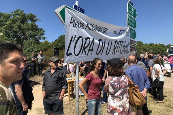 A plusieurs reprises, comme ici en juillet 2018, des manifestations ont eu lieu pour demander le rapprochement d'Alain Ferrandi et de Pierre Alessandri