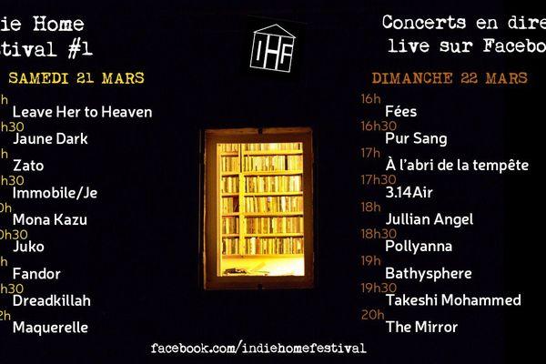 La programmation de l'Indie Home Fest #1, premier festival de musique né du confinement.