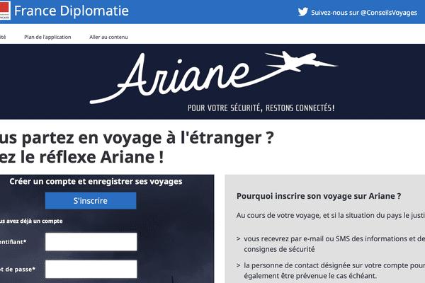 Une capture d'écran du site web consacré au programme Ariane à destination des ressortissants français à l'étranger.