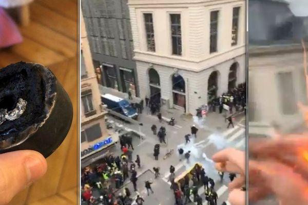 """Marie et Vincent filmaient la manifestation à Lyon, samedi 11 janvier, quand une grenade lacrymogène aurait explosé au niveau de leur fenêtre: """"on a tous eu très peur"""" disent-ils."""
