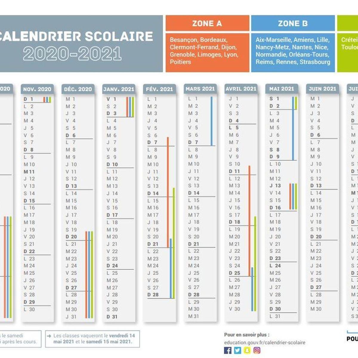Vacances scolaires : voici le calendrier pour l'année 2020 2021