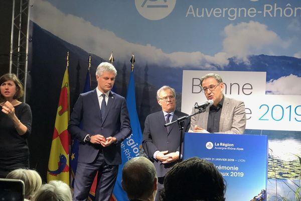 Le président de Région et le président de la métropole de Lyon  s'affichent ensemble et font cause commune lors de la cérémonie des voeux 2019.